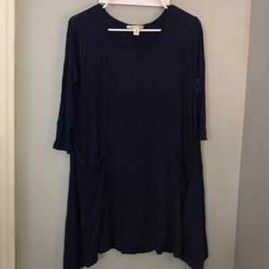 Navy Blue long sleeve flow dress with pockets